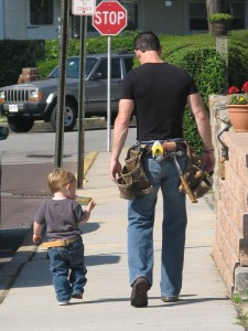 Mark and Jack walking down the street