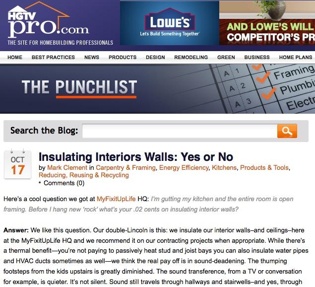 Insulate Interiors Walls
