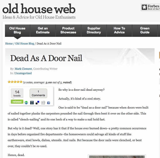So Why Is A Door Nail Dead Anyway