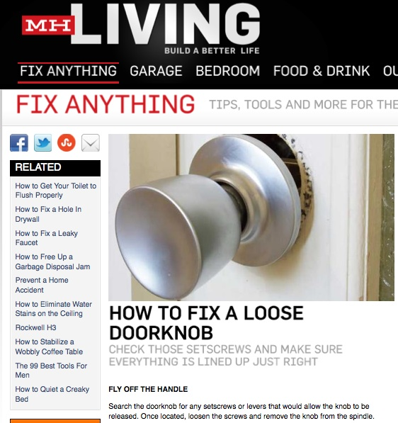 Mark shares \'How to Fix a Loose Doorknob\' with Men\'s Health