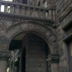 A segmented arch in a Victorian era Richardsonian Romanesque mansion.