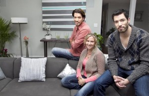 Drew and Jonathan with a client they helped get into their dream home on an episode of 'Property Brothers'