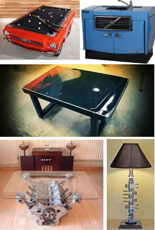 Car parts upcycled as 39 man cave 39 decor for Auto decoration parts
