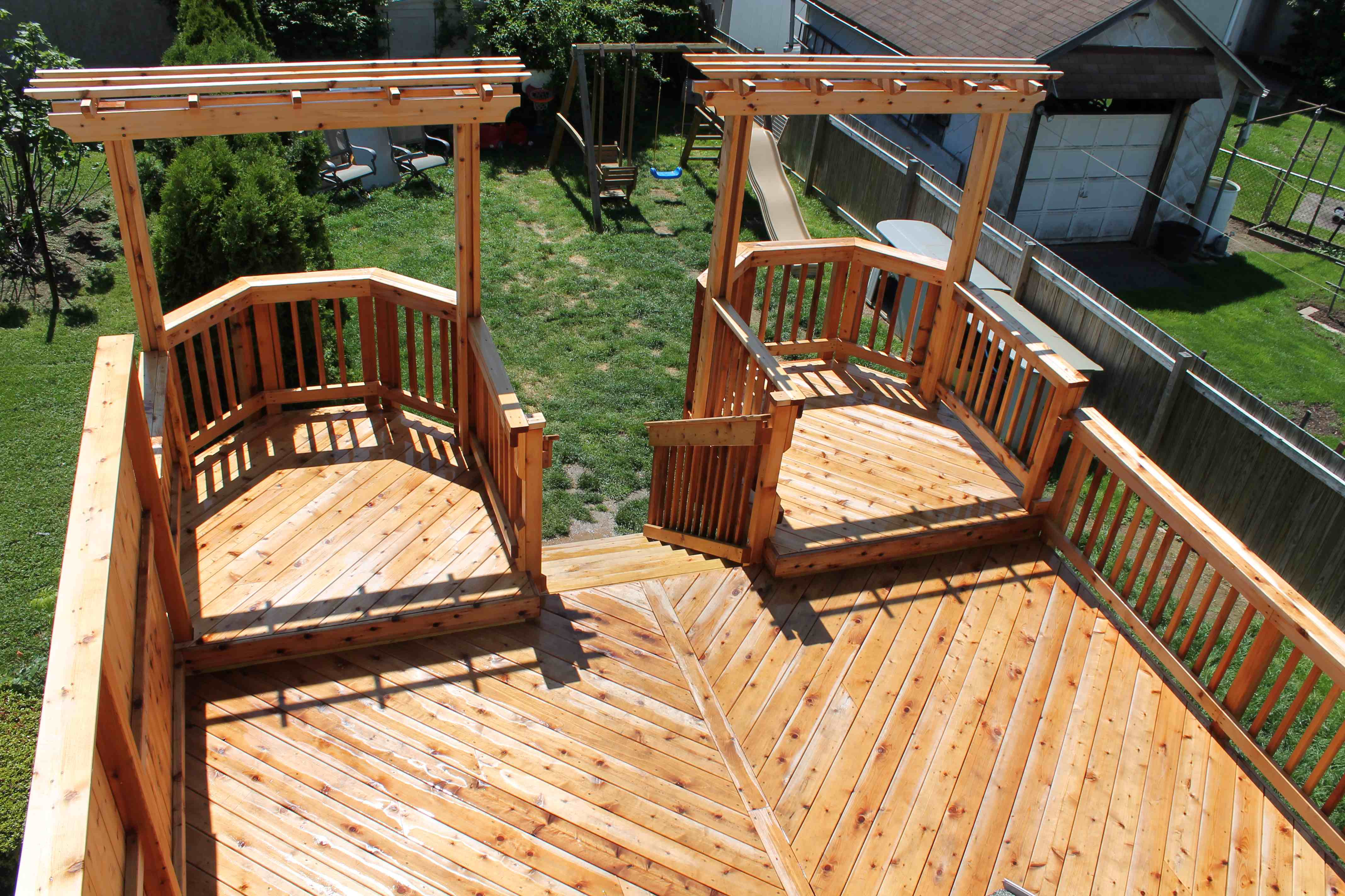 A pressure washer can damage a deck.