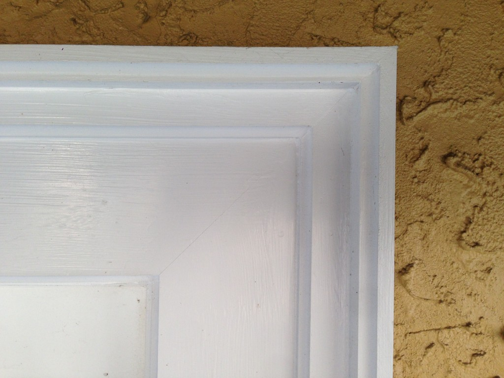 Pvc door moulding spray painted window trim on exterior door Fypon molding
