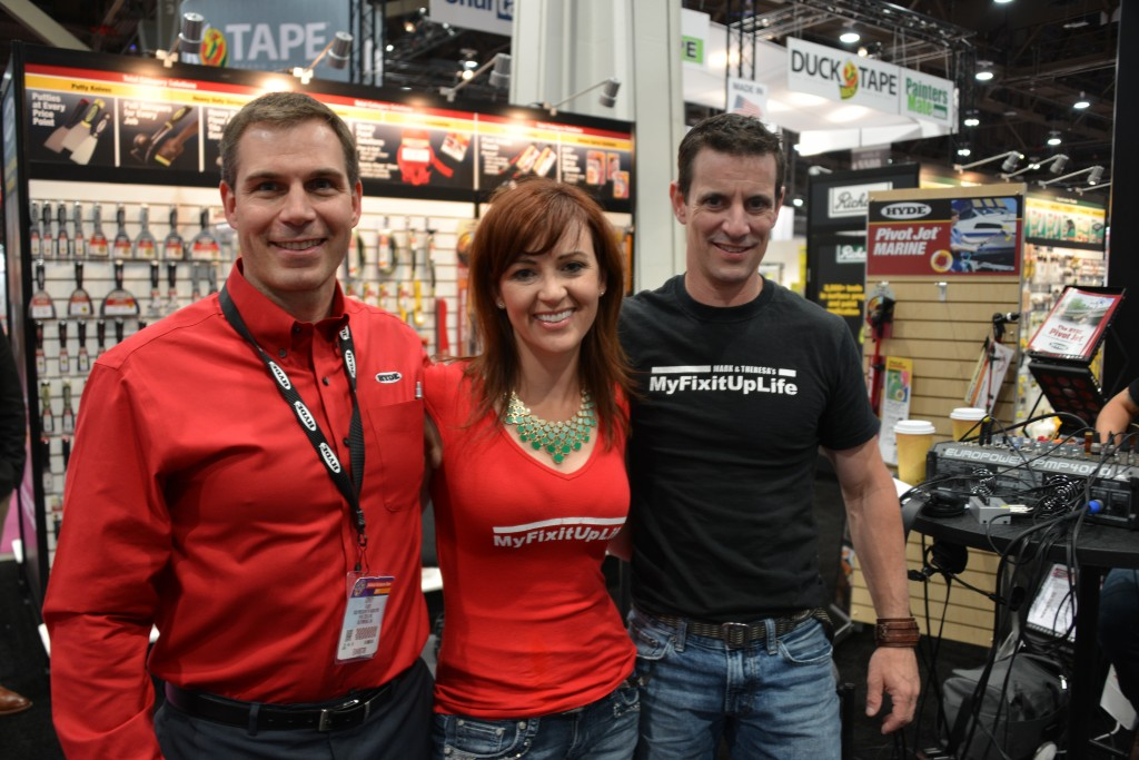 MyFixitUpLife's Mark and Theresa with Hyde Tools Corey Talbot at the National Hardware Show