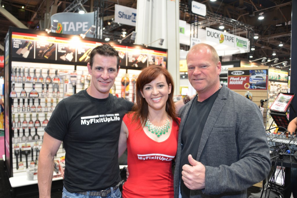 MyFixitUpLife's Mark and Theresa with Mike Holmes at the National Hardware Show