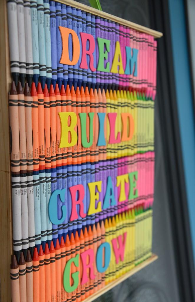 Crayon art back to school door decoration for Back to school door decoration