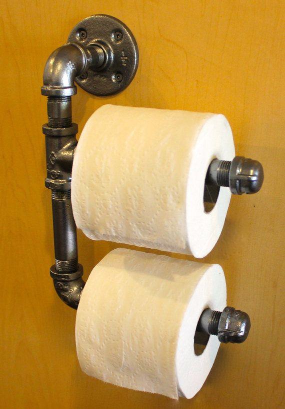 plumbing pipe double toilet paper holder man cave bathroom ideas