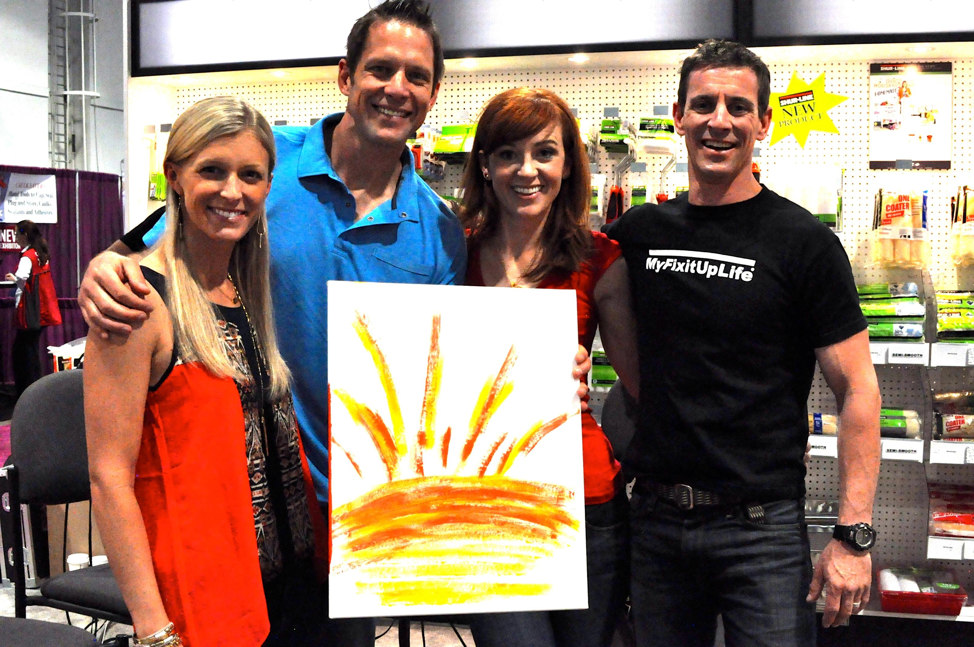 Chris Lambton shares his art with Peyton Lambton, Mark and Theresa