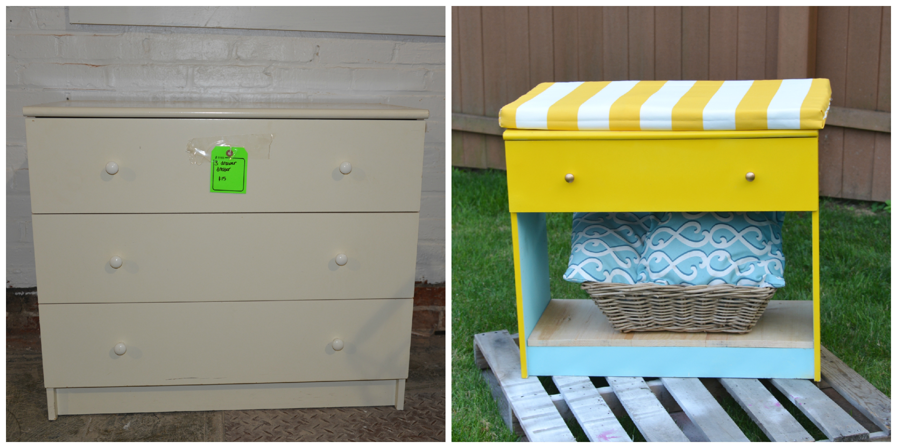 Before and After storage bench _Habitat ReStore_MyFixitUpLife