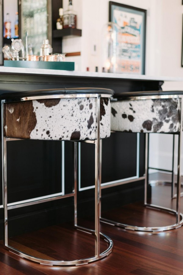 I Like The Luxe Style Of These Masculine Bar Stools