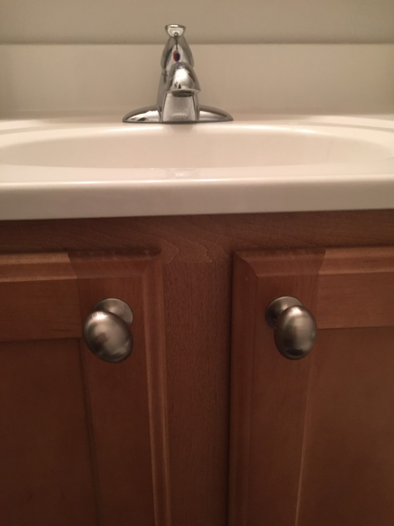While there isn't anything wrong with the cabinet color, it just doesn't go with my mom's new bathroom mojo.