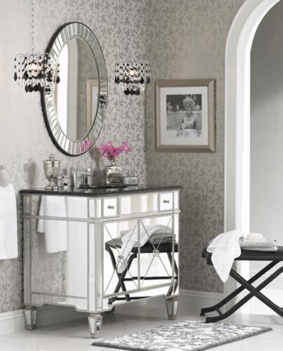 A Stylish Bathroom Mirror Can Light Up, Too