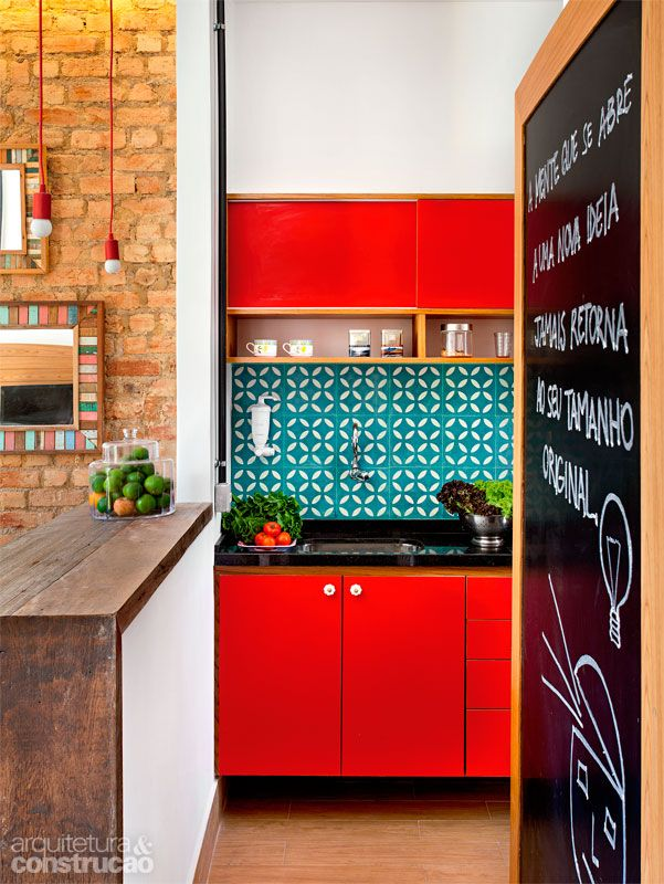 Turquoise And Red Have The Orangey Brick Blackboard Frame In This View Making It