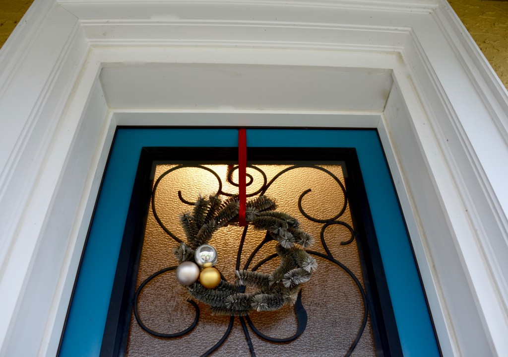 I made this holiday wreath using brushes from Habitat for Humanity ReStore.