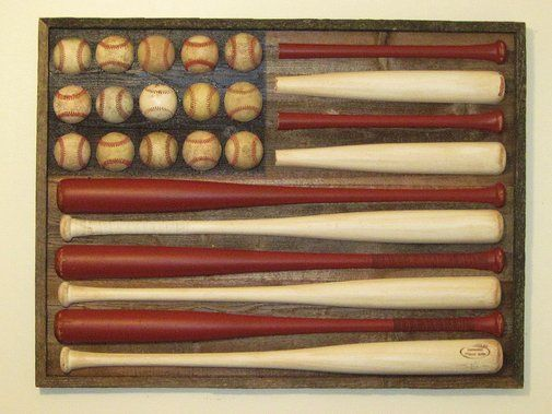 For displaying family treasures or for just creating art from the local dollar store, this baseball flag can be a smart wall charmer.