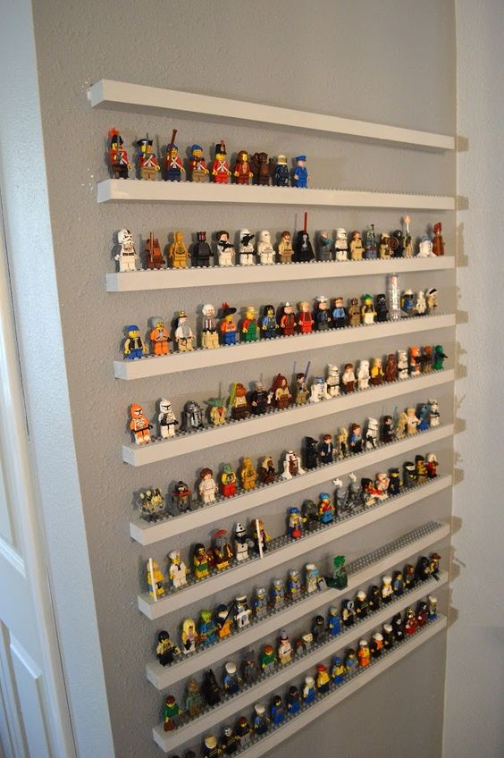 Lego minifigures are ready to play when they are organized and on display.
