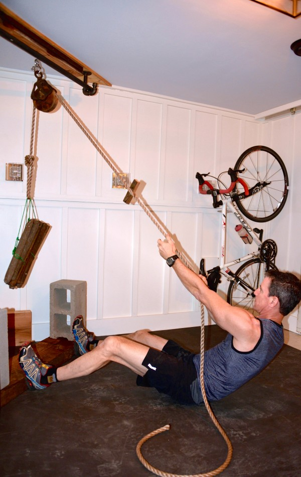 pulley to create a unique exercise station in our basement man cave