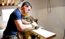 2016_MyFixitUpLife_Mark_Door Trim_Basement Renovation_Measuring cut_Miter Saw