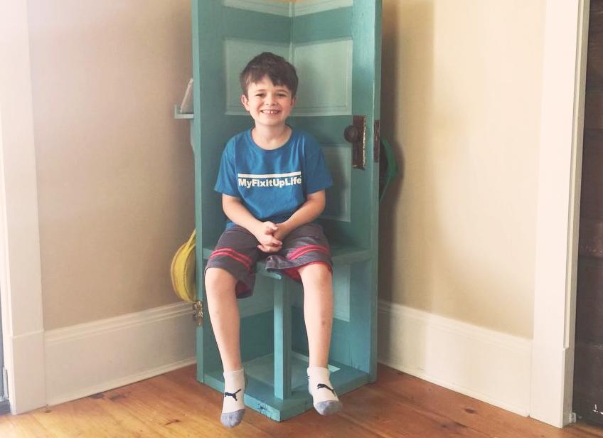 Let's repurpose an old door into a cool, custom kid's corner bench!