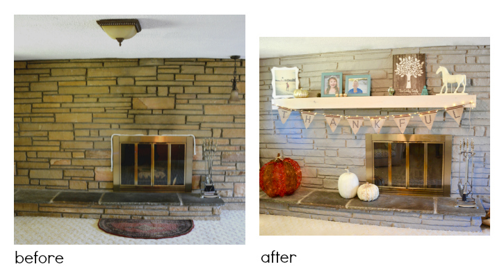 Painting brick or stone fireplace surround is an easy ish DIY project