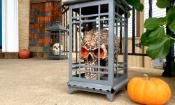 Halloween skull lantern Krylon paint pallet sign porch MyFixitUpLife