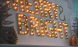 3 Holiday light interior sign Merry Bright