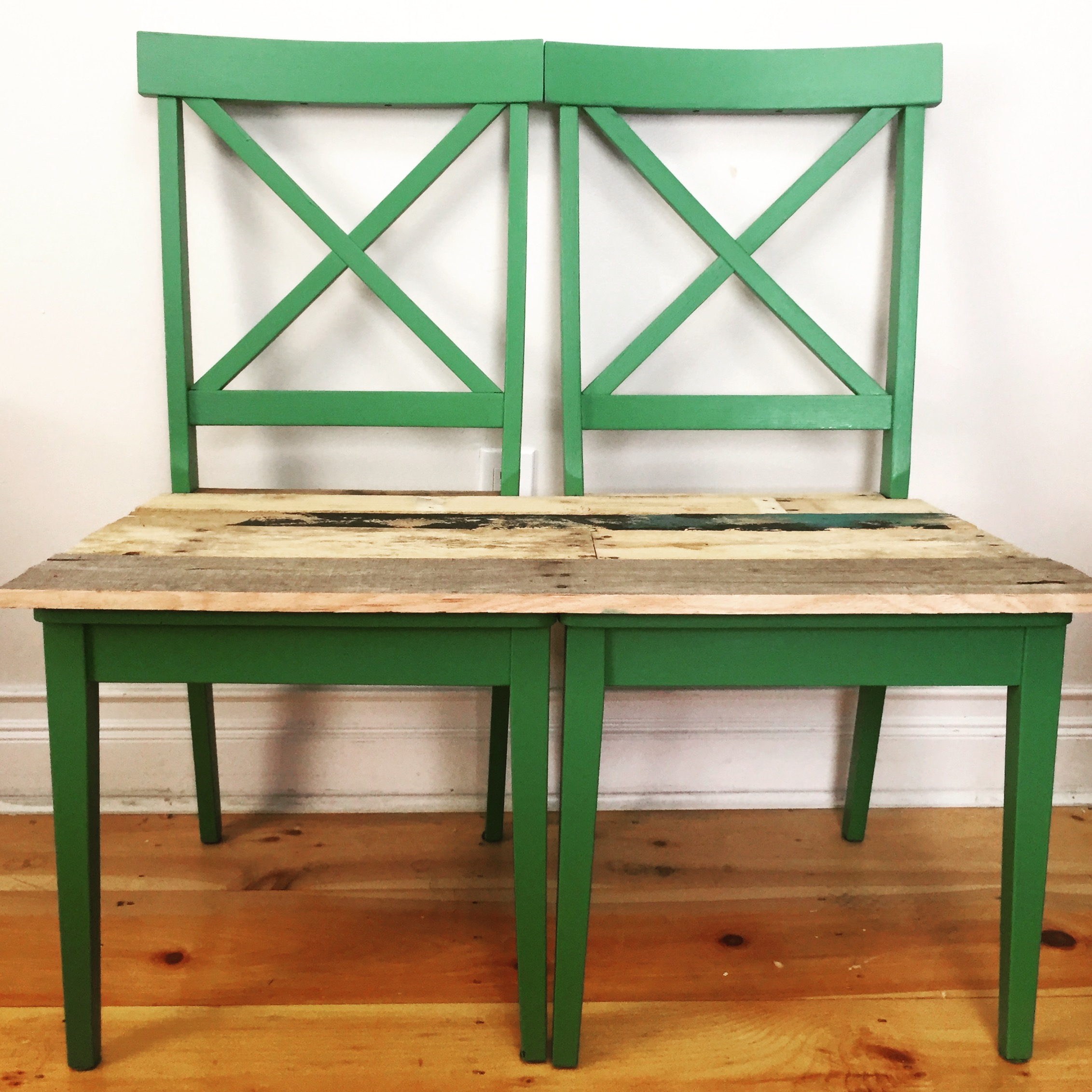 Chair pallet bench upcycle MyFixitUpLife pink Chair pallet bench upcycle MyFixitUpLife green  sc 1 st  MyFixitUpLife & Hers u0026 His pallet ideas: We upcycled these old chairs into his/hers ...