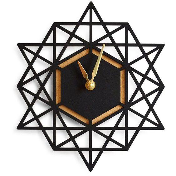 black geometric clock