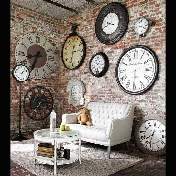 clocks living room brick