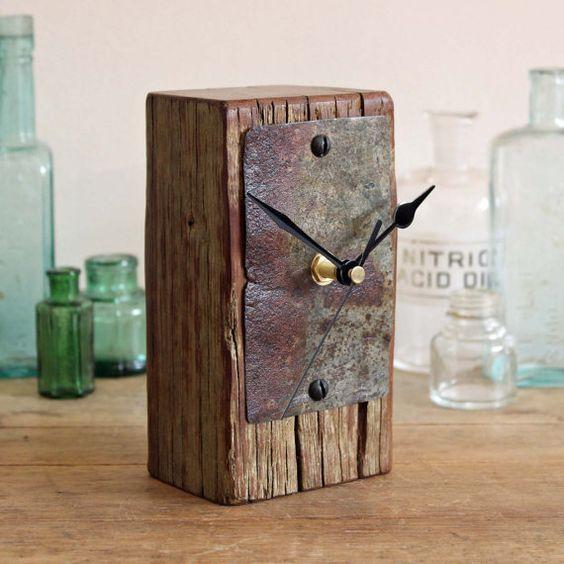driftwood metal clock
