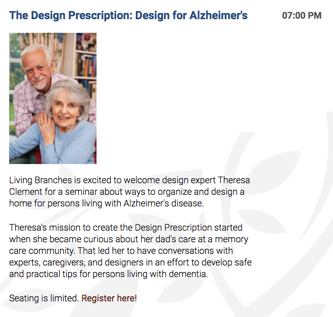Home design Alzheimer's Living Branches Theresa Clement