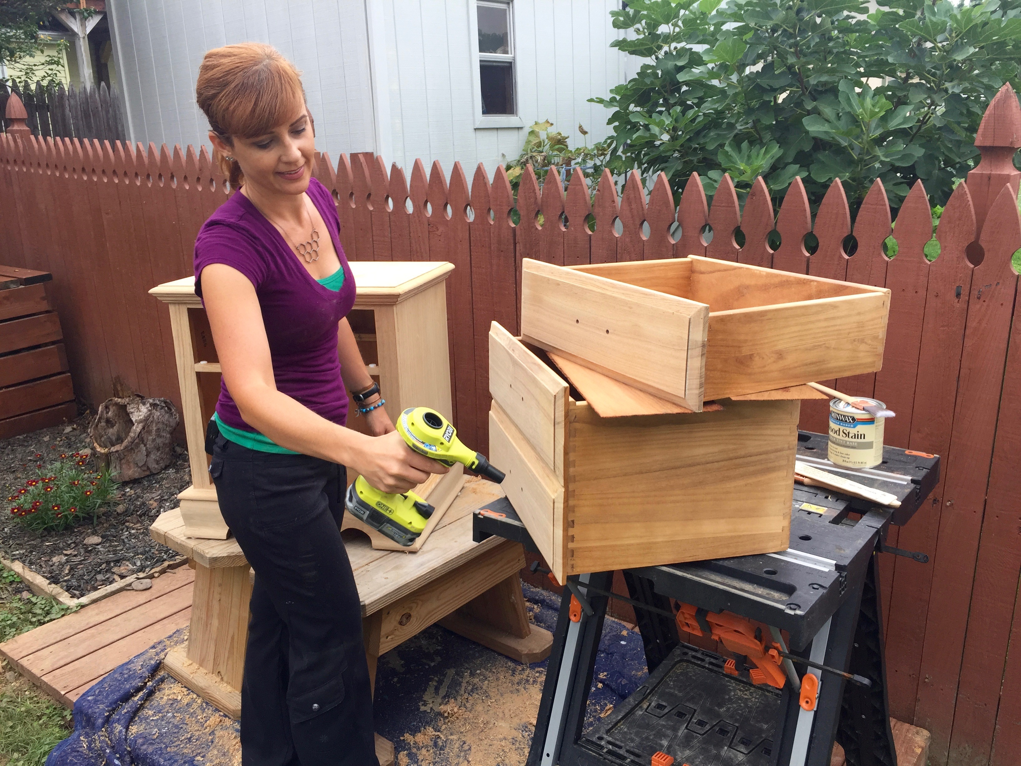 Theresa MyFixitUpLife Habitat Minwax blowing sanding dust