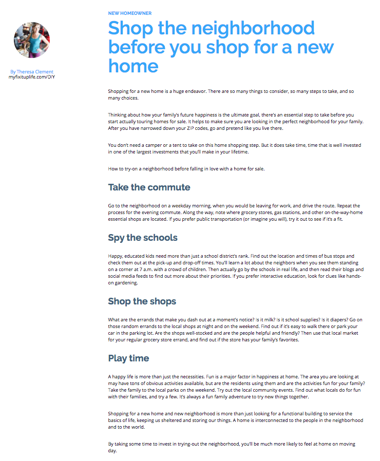 Progressive Theresa Clement MyFixitUpLife how to shop for a new home