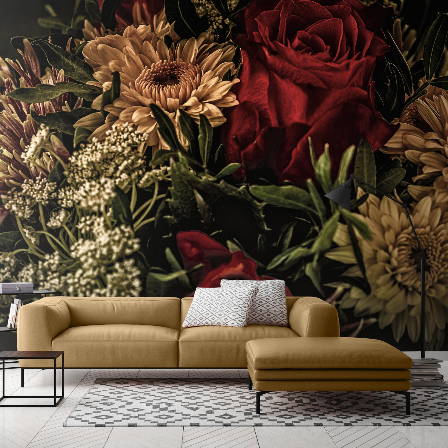 Rich Dark And Oversized Yes Bold Floral Wallpaper Is Trending